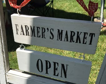 Farmers Market Handpainted Wooden Sign Open/Closed