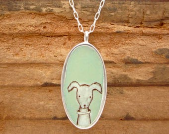 Dog Person Necklace - Dog Necklace - Reversible Enamel and Sterling Silver Necklace