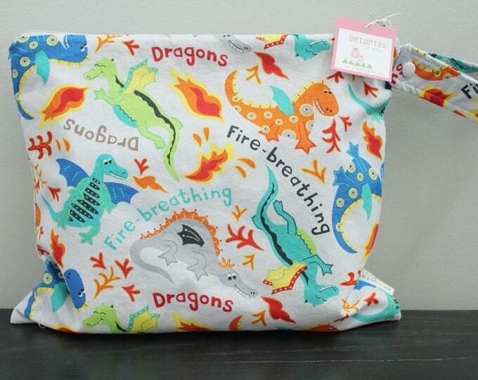 Wet Bag wetbag Diaper Bag ICKY Bag wet proof grey dragon gym bag swim cloth diaper accessories zipper gift newborn baby kids beach bag