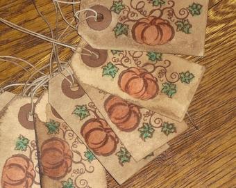 15 Primitive Rustic Grungy Hang Tags Gift Ties - Halloween - Pumpkin - Jack O Lantern - Ornies - Fall Decor - Trick or Treat Bags -