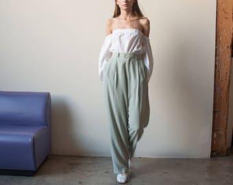 seafoam green silk pleated trousers / permanent pleat trousers / high waist pants / 32 waist / US 14 / 2762t / B15