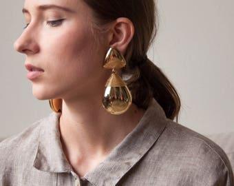 oversized gold wire wrapped drop earrings / cleopatra teardrop / statement clip on earrings / 1695a