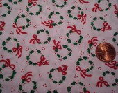 Quarter yard VINTAGE Christmas fabric tiny holly wreaths with tiny red bows DOLL DRESS sewing quilting crafting