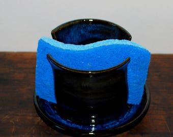 Cobalt Blue Sponge Holder Stoneware Clay Pottery Ready to Ship