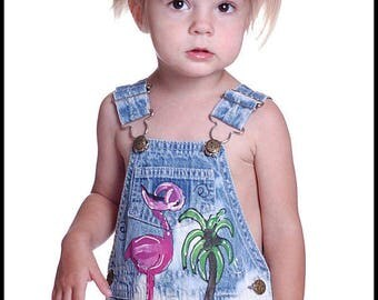 Pink Flamingo Birthday Party Overalls, Custom Painted Dungarees, Boho Beachwear, Baby Girl Outfit, Tropical Vacation Clothing for toddler