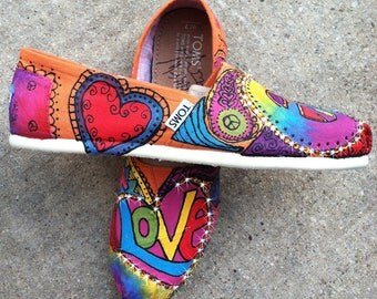 Painted Shoes TOMS, Rainbow Colors Peace love and paisleys for Hippie Bridal Party, Bohemian Gift for Women, Woodstock Music Festival Flats