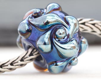 Ornate Lustre Swirl Bead Handcrafted Lampwork Glass European Charm Big Holed by Clare Scott SRA
