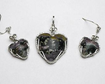 Ocean Jasper Heart Cabochons Argentium Sterling Silver Pendant and Earrings Set