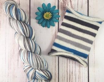 White Walker: Hand-dyed gradient self-striping sock yarn, 75/25 SW merino/nylon