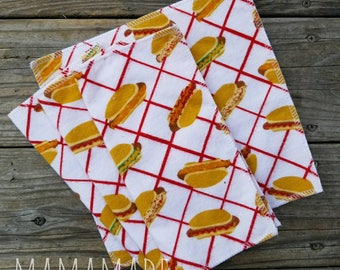 Lunchbox Napkins | Hot Dogs | Cloth Napkins | Cloth Wipes | Reusable Napkins from green by mamamade