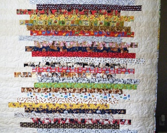 Dog themed striped quilt twin size 62x75