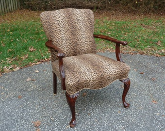 Antique Chippendale Arm Chair, Upholstered Chippendale Chair, Carved Arms, Leopardskin Upholstery, Animal Print Fabric Chair, Local Pick Up