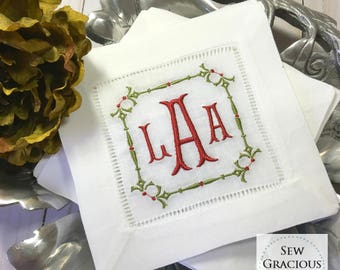 Embroidered MONOGRAM Cocktail Napkins. Set of 4 Spindle Border. Hostess Gift. Bar Cart Decor. Personalized Wedding Gift
