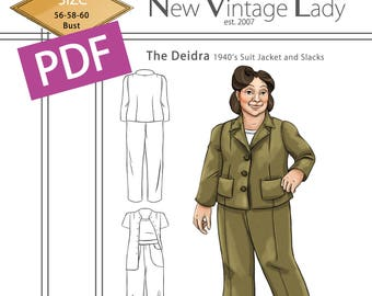 The Deidra 1940s WWII slacks and jacket set in PDF size 56-58-60 bust NVL plus size multi size repro vintage sewing patterns