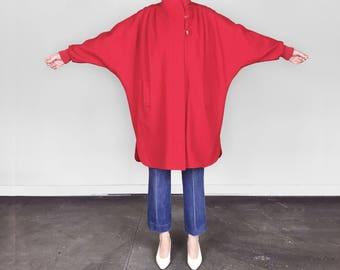 Vintage 80s Red Wool Coat / Batwing Wool Coat S/M/L