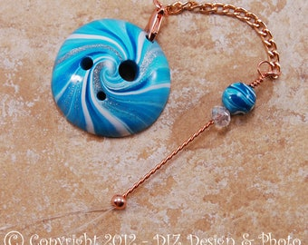 Turquoise Swirl Spinner's DIZ and Threader Set - No 2 - CONCAVE