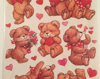 Valentine Bears, 1980s, Vintage, American Greetings, Single Sticker Sheet, Scrap Booking, Sticker Collecting, Craft ~ SS002