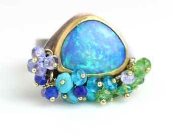 Blue Green Opal Ring. 22k Gold and Sterling Silver. Size 6 1/2.