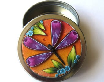 Purple Dragonfly Garden Twist Top Tin Sewing Needle Case Round Notions Box Polymer Clay Covered Jewelry or Accessory Tin