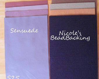 Ultrasuede/Sensuede Microfibor Fabric Set with Free Nicoles BeadBacking Shades of Lavenders S25