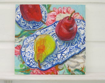 My Three Pears original mixed media acrylic still life painting