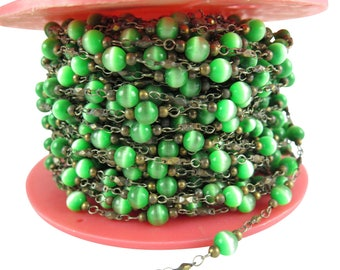"""Vintage Green """"Tigers Eye"""" Glass Beaded Chain with Cable Links (4 Feet) (CP250)"""