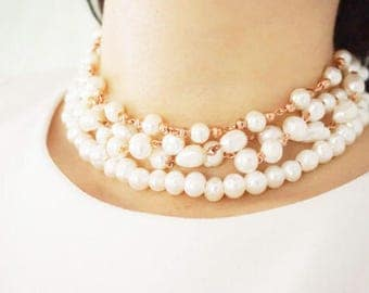 Statement Necklace Pearl Necklace Pearl Jewelry Bridesmaid Necklace Bridesmaid Jewelry Bridesmaid Gift Wedding Necklace Wedding Jewelry Set