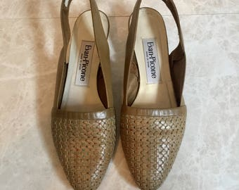 Low Slingbacks - Sand with Colorful Woven Thread- 90s