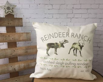 Reindeer Ranch Christmas throw pillow cover/farmhouse decor/ cabin christmas/ two sided design
