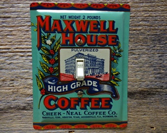 Vintage Kitchen Switchplate Old Home Decor Single Light Switch Cover Made From A Maxwell House Coffee Tin SP-0049