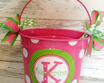 ON SALE custom 10 QUART bucket with stacked name in pinks and greens