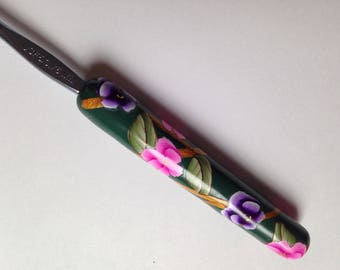Polymer Clay Floral Crochet Hook, Bates Size F