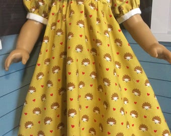 18 inch doll clothes- Hedgehog Party Dress LAUGH