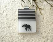 Custom Lucky Elephant Necklace, Black & White Necklace, Fused Glass Jewelry, Dichroic Jewelry, Elephant Jewelry, ccvalenzo, 080517p100a
