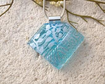 OOAK Silver Aqua Necklace, Handmade Jewelry,  Aqua Blue Pendant, Dichroic Jewelry,Blue Necklace, Fused Glass Jewelry, ccvalenzo, 122017p108