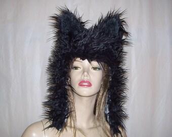 Furry Wolf Hat Alley Cat Black Fur Hood Adult Unisex Geek Animal Hat Furries Halloween Costume Christmas Gift Hat Huge Ears Furry Hood