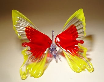 Blown Glass Figurine Art Insect Yellow and Red Hanging BUTTERFLY Ornament with a Hanging Hook
