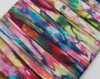 "Silk Ribbon, Hand Dyed Watercolour Rainbow : Red Rainbow (100% silk, 13 mm/ 0.5"" wide, 2.3 yards) BIAS CUT"