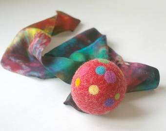 Comet Ball: Felted Wool Ball with Silk Tail (Waldorf Pretend Play, Eco Friendly Active Toy) Red Polka Dot Rainbow Toy