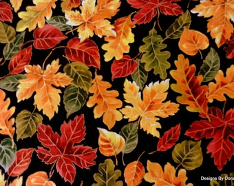 One Yard Cut Quilt Fabric, Colorful Fall Leaves Highlighted with Gold Metallic on a Black Background, Sewing-Quilting-Craft Supplies