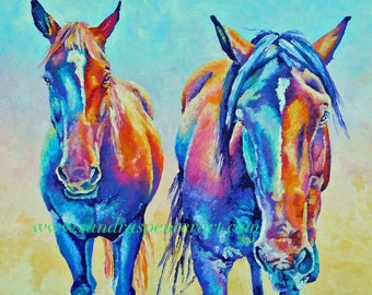 "Original Colorful Horse Friends Oil Painting 18""x24"" by Sandra Spencer"