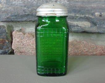 "Vintage Salt/Pepper/Sugar Shaker Green Depression Glass Checkered Pattern 5"" Tall"