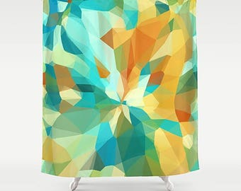 Shower Curtain, Abstract Art Shower, Geometric Shower, Modern Bath, Abstract Bathroom, Blue, Yellow, Turquoise, Gold, Geometric Curtain