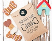 Doggie Take Out Bags - Dog Biscuit Bags - Customizable from your pet - Wedding or Birthday - 20 kraft Bags