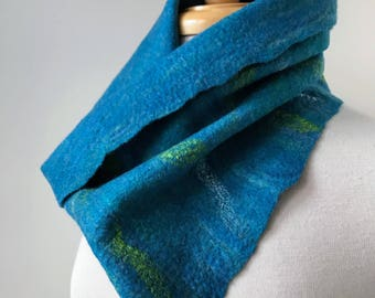 Fiber Art Cowl Neck Scarf, Hand Felted, Merino Wool and Silk, Neckwarmer, Wrap, One of a Kind, Texture, Colorful, Soft, Fashion, Unique