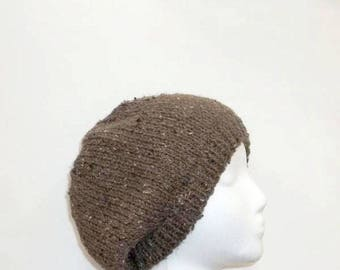 Knit Beanie hat brown acrylic Beret medium size  4906