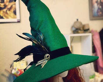 Custom Wizard Witch Fantasy Pointed Hat with Ribbon/Feathers