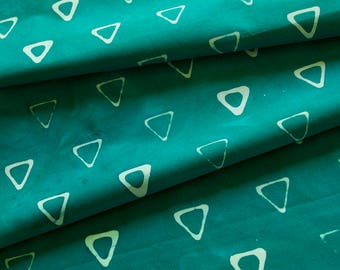 Triangle Tribe Hand Dyed and Patterned Cotton Fabric in Seafoam and Mermaid