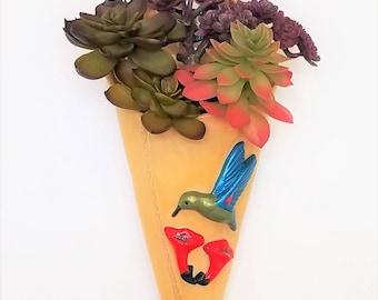 Succulent Wall Pocket - Ceramic Wall Pocket - Ceramic Wall Vase - Succulent Wall Planter - Ceramic Wall Planter - Succulent Planter - Bird