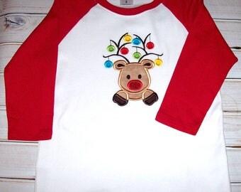 Sample SALE Girls Raglan Reindeer Ornament Applique 3/4 Sleeve Shirt Size 8--Sparkle--Christmas--Holiday
